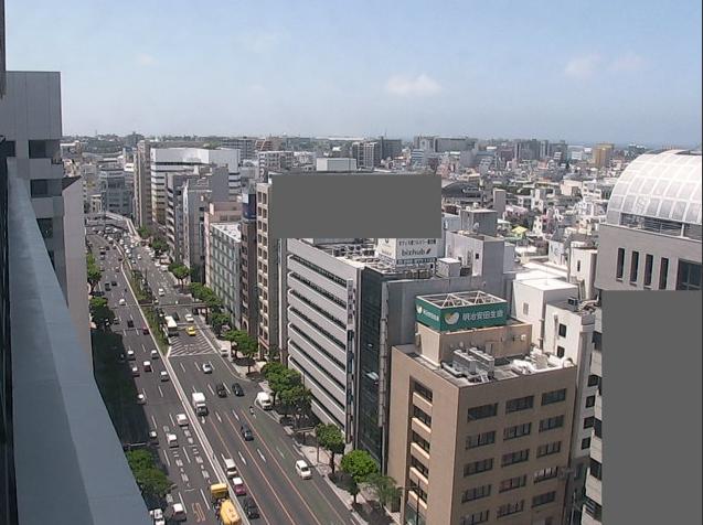 沖縄タイムス本社ビル12階から国道58号線・泊港・東シナ海