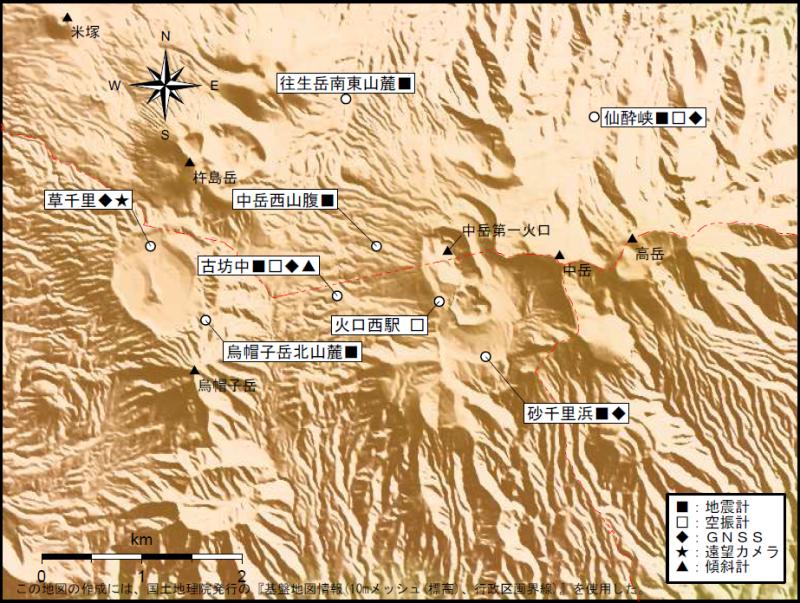 阿蘇山 地震計・空振計・傾斜計・GPS・遠望