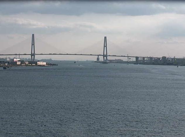 名古屋港ガーデンふ頭から名古屋港・湾岸道中央大橋・湾岸道東大橋