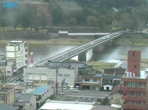 NTT人吉ビルから球磨川・人吉城址公園・新燃岳