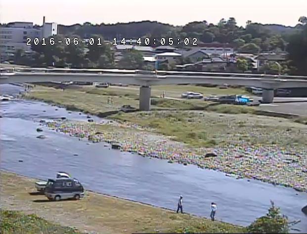 清流荘付近から那珂川・那珂川歩道橋が見えるライブカメラ。