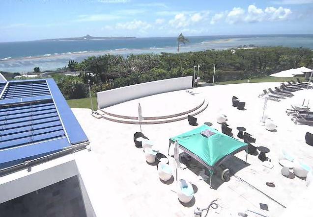 センチュリオンホテル沖縄美ら海からオーシャンカフェテラス・沖縄の海が見えるライブカメラ。