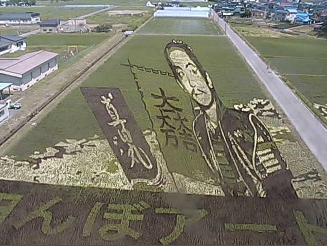田舎館村展望台(第1田んぼアート)から田んぼアートが見えるライブカメラ。