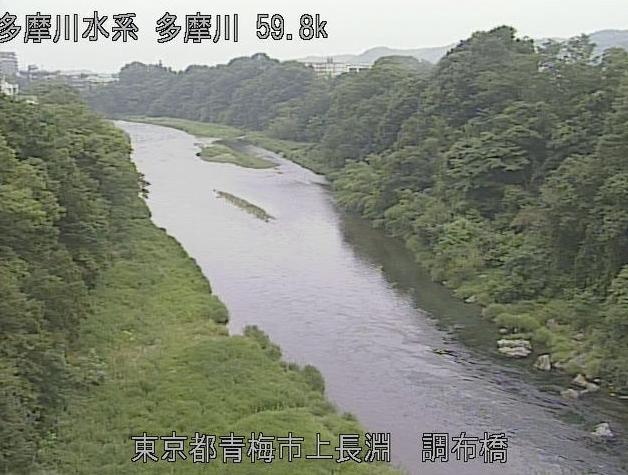東京都青梅市長淵の調布橋水位観測所に設置された多摩川が見えるライブカメラです。