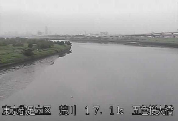 荒川五色桜大橋ライブカメラは、東京都足立区の五色桜大橋に設置された荒川が見えるライブカメラです。
