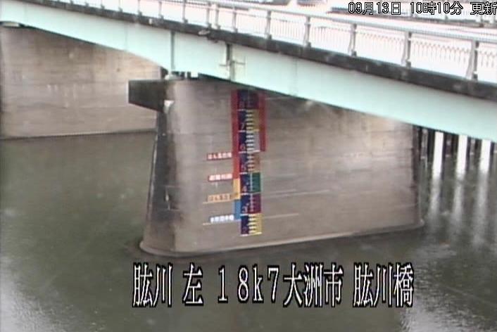 肱川肱川橋ライブカメラは、愛媛県大洲市大洲の肱川橋に設置された肱川(大洲基準点)が見えるライブカメラです。