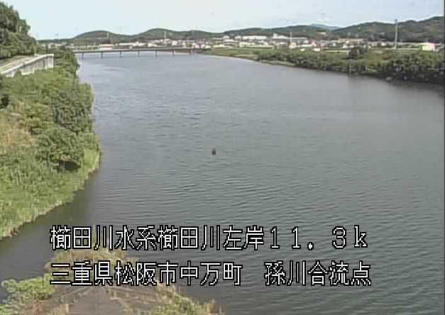 櫛田川孫川合流点ライブカメラは、三重県松阪市中万町の孫川合流点に設置された櫛田川が見えるライブカメラです。