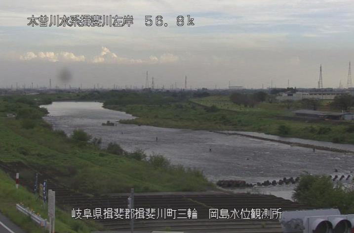 揖斐川岡島ライブカメラは、岐阜県揖斐川町三輪の岡島水位観測所に設置された揖斐川が見えるライブカメラです。
