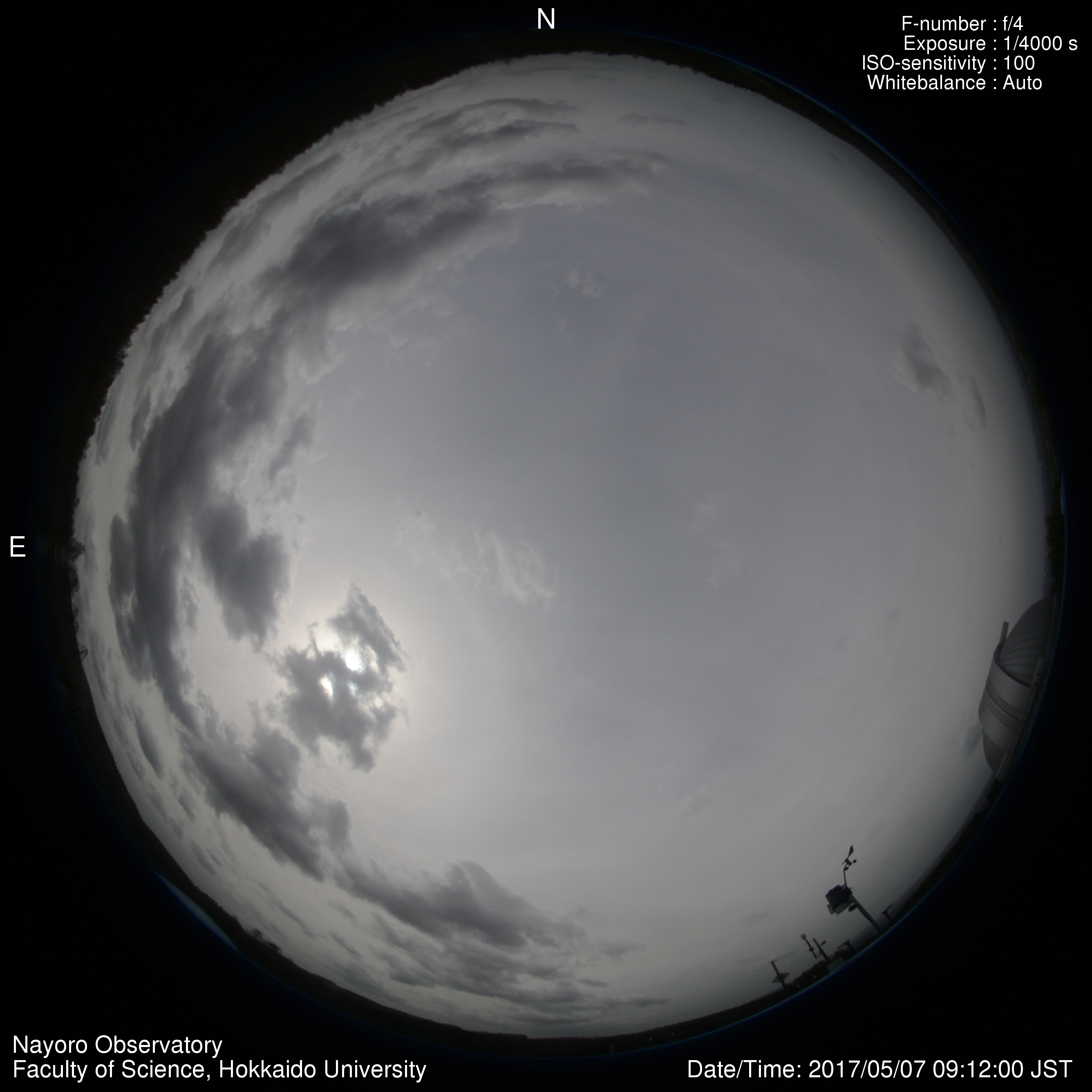 北海道大学大学院理学研究院附属天文台ライブカメラ(北海道名寄市日進)