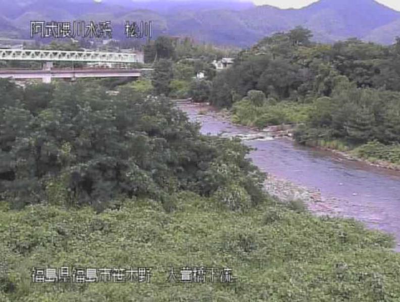 松川大萱橋下流ライブカメラ(福島県福島市南沢又)