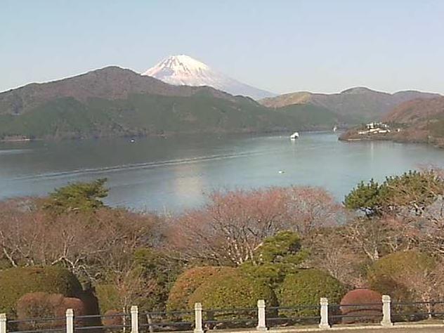 恩賜箱根公園湖畔展望館2階から富士山・芦ノ湖