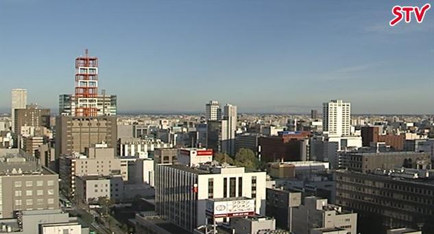 STV札幌テレビ放送会館屋上鉄塔地上70mから札幌市内