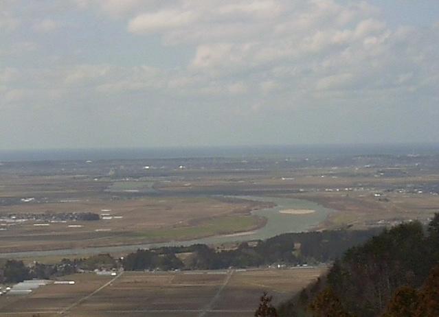 松山眺海の森さんさんから庄内平野・最上川