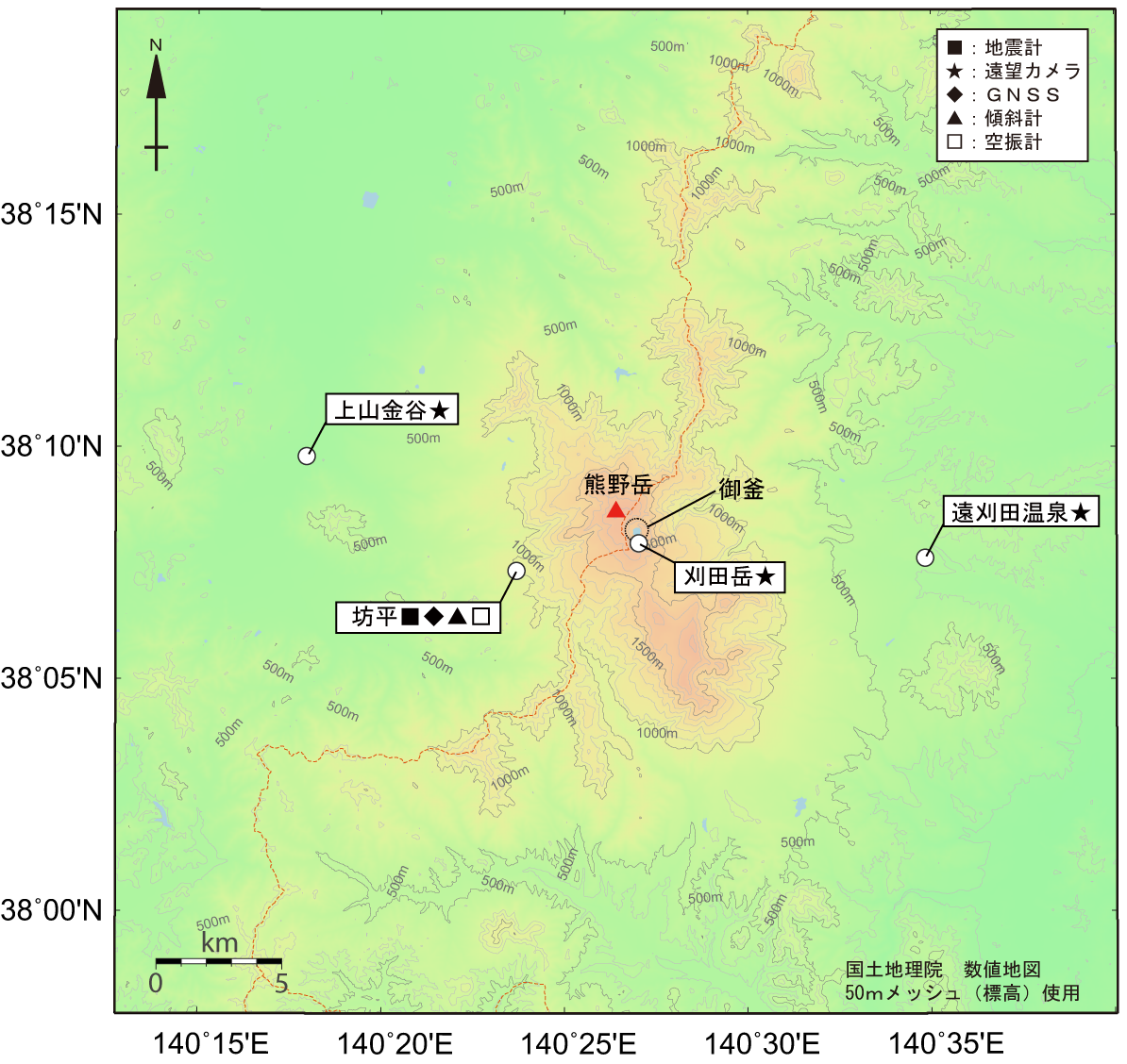 蔵王山 地震計・空振計・傾斜計・GPS・遠望カメラ