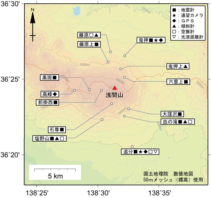 浅間山地震計・空振計・傾斜計・GPS・遠望カメラ