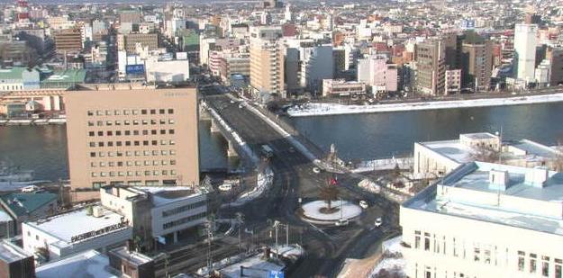 釧路市生涯学習センターまなぼっと幣舞屋上から釧路川・幣舞橋・JR釧路駅方向・釧路市内