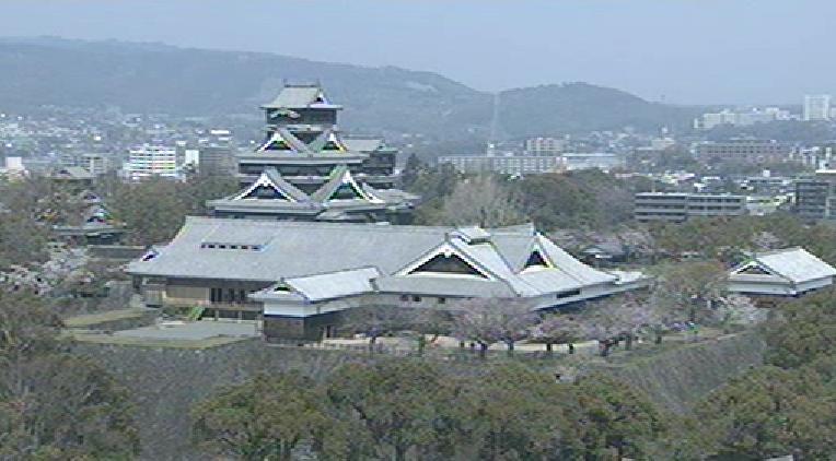 熊本放送本社から熊本市内・熊本城