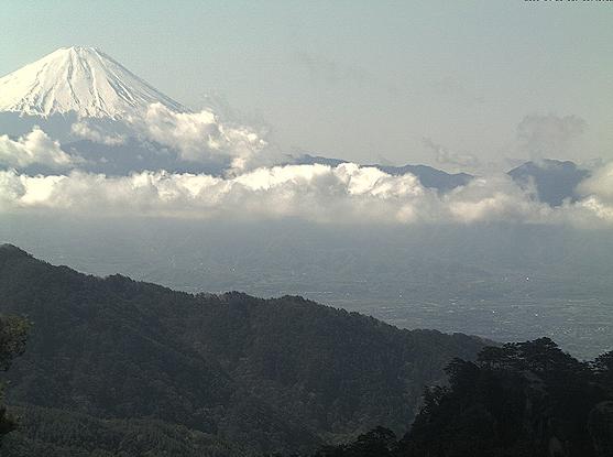 昇仙峡ロープウェイ山頂パノラマ台駅から甲府盆地・富士山