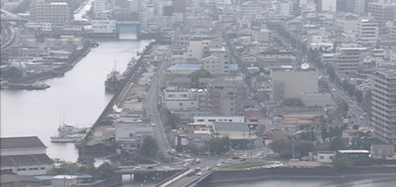 高知放送本社から高知市内