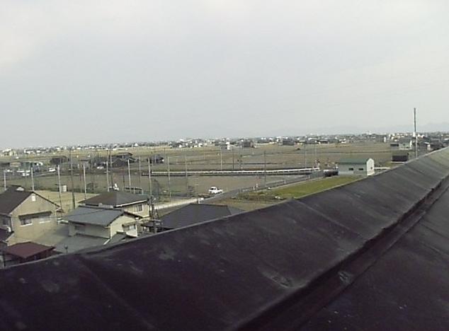 早島町役場庁舎屋上から早島町田園風景・金甲山