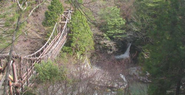 奥祖谷二重かずら橋からかずら橋と滝・丸石滝