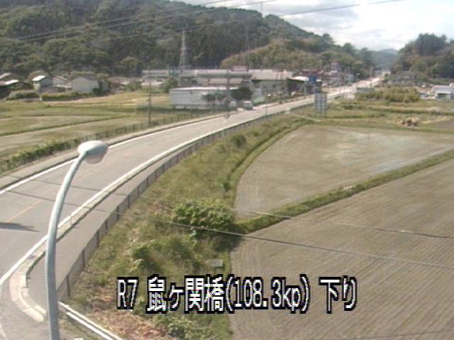 鼠ヶ関から国道7号(坂町鼠ヶ関道)・鼠ヶ関川が見えるライブカメラ。