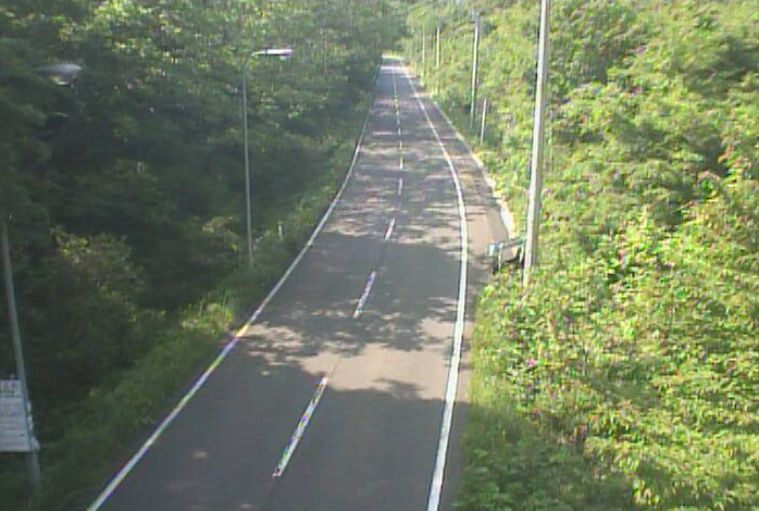 大月峠から岩手県道7号久慈岩泉線(久慈から岩泉方面)が見えるライブカメラ。