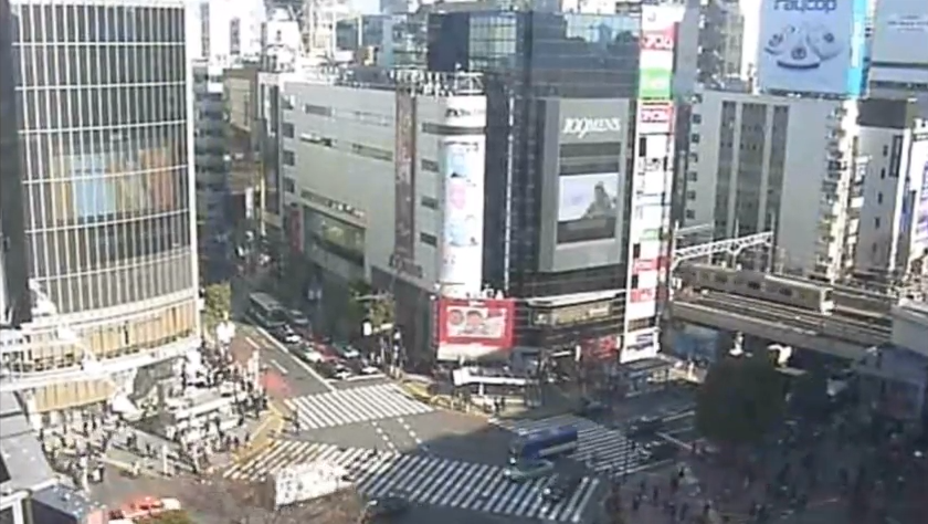 渋谷マークシティ渋谷スクランブル交差点ライブカメラ(東京都渋谷区道玄坂)