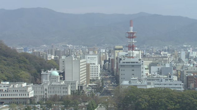 南海放送本社から松山市内