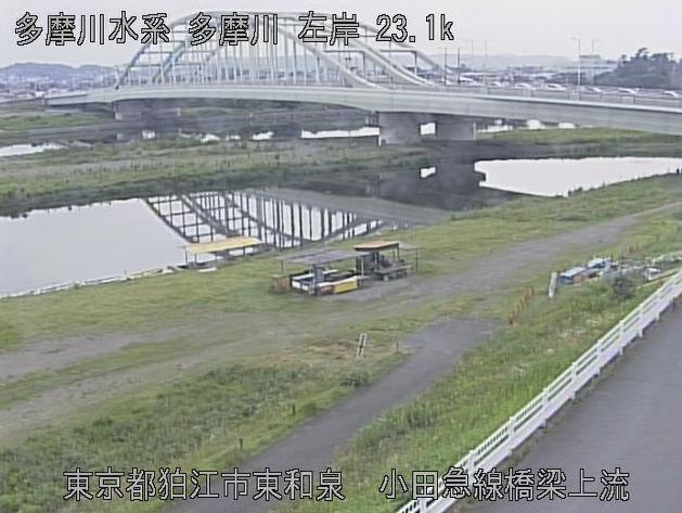 多摩川小田急線橋梁上流ライブカメラは、東京都狛江市東和泉の小田急線橋梁上流に設置された多摩川が見えるライブカメラです。