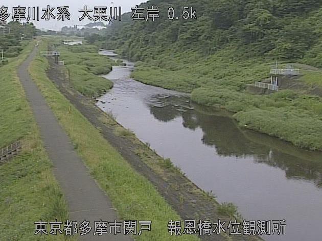 大栗川報恩橋水位観測所ライブカメラは、東京都多摩市関戸の報恩橋水位観測所に設置された大栗川が見えるライブカメラです。
