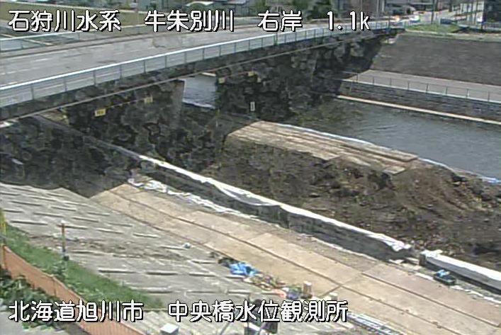 牛朱別川中央橋水位観測所ライブカメラは、北海道旭川市東4条1丁目の中央橋水位観測所に設置された牛朱別川が見えるライブカメラです。