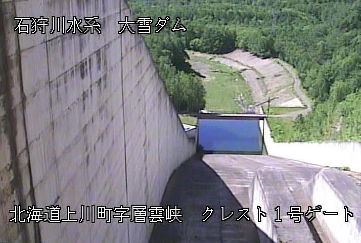 大雪ダムライブカメラは、北海道上川町層雲峡の大雪ダムに設置されたクレスト1号ゲートが見えるライブカメラです。
