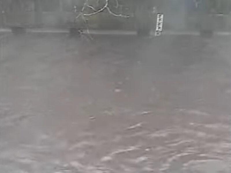 石神井川稲荷橋水位観測所ライブカメラ(東京都練馬区石神井台) 2021年9月18日 6:50 氾濫危険水位