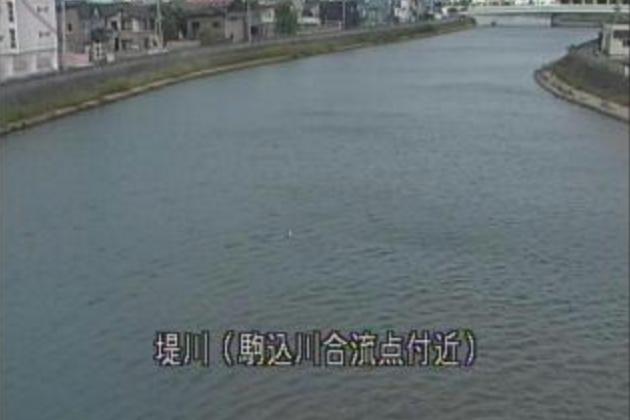 堤川駒込川合流点ライブカメラは、青森県青森市松原の駒込川合流点に設置された堤川が見えるライブカメラです。