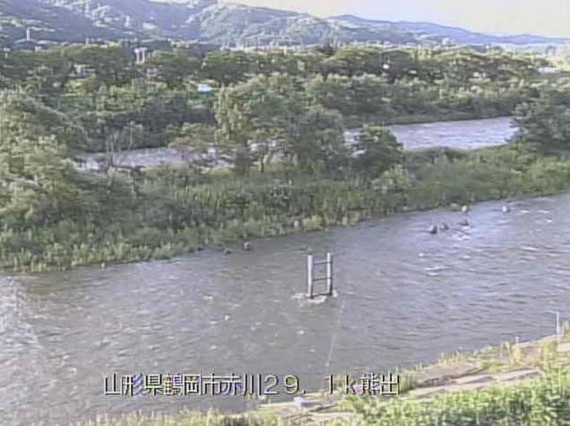 赤川熊出ライブカメラは、山形県鶴岡市熊出の熊出に設置された赤川が見えるライブカメラです。
