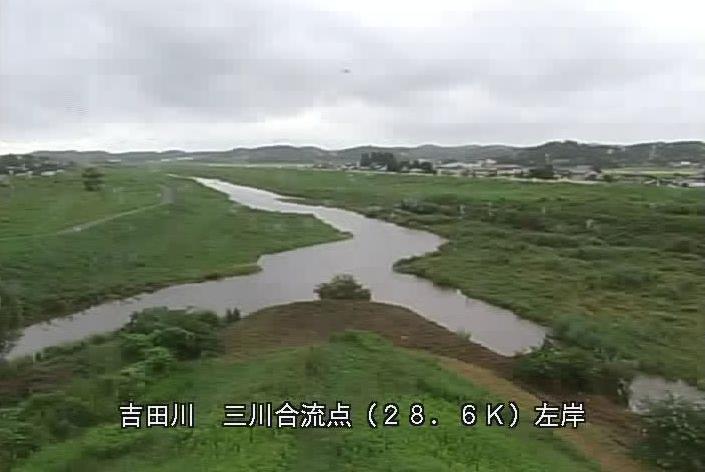 吉田川三川合流点ライブカメラは、宮城郡大和町落合檜和田の三川合流点に設置された吉田川が見えるライブカメラです。