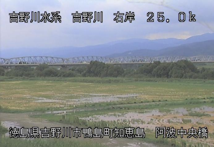 吉野川阿波中央橋付近ライブカメラは、徳島県吉野川市鴨島町の阿波中央橋付近に設置された吉野川が見えるライブカメラです。