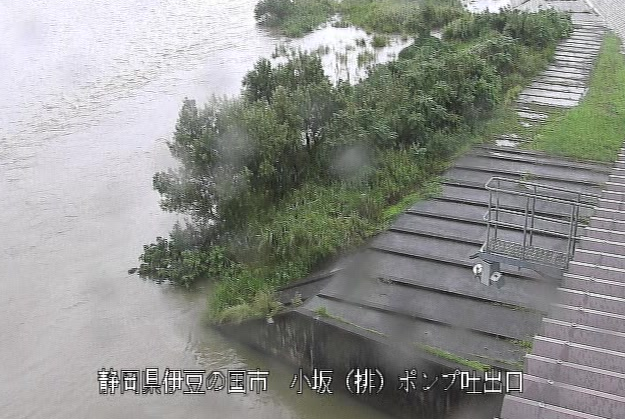 狩野川小坂排水機場ライブカメラは、静岡県伊豆の国市小坂の小坂排水機場ポンプ吐出口に設置された狩野川が見えるライブカメラです。