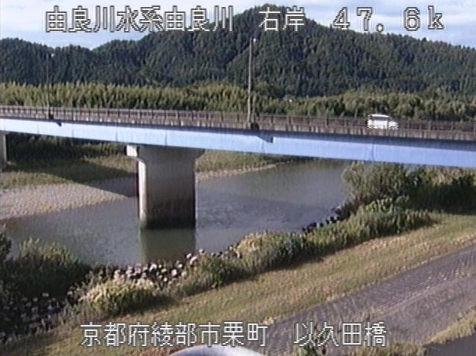 由良川以久田橋ライブカメラは、京都府綾部市栗町の以久田橋に設置された由良川が見えるライブカメラです。