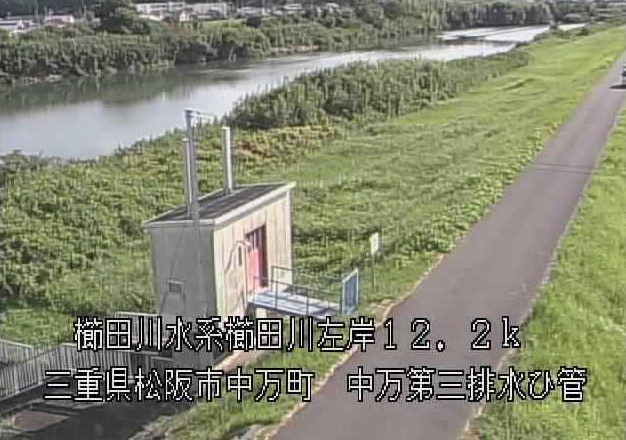櫛田川中万第三排水樋管ライブカメラは、三重県松阪市中万町の中万第三排水樋管(中万第3排水樋管)に設置された櫛田川が見えるライブカメラです。