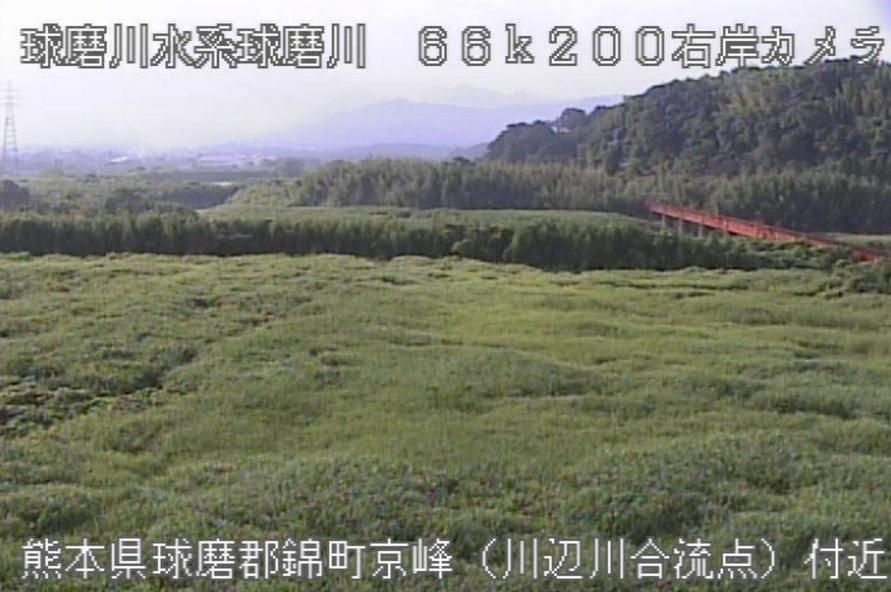 球磨川川辺川合流点ライブカメラ(熊本県錦町西京の峰)