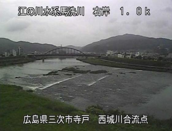 馬洗川寺戸ライブカメラは、広島県三次市畠敷町の寺戸(西城川合流点)に設置された馬洗川が見えるライブカメラです。