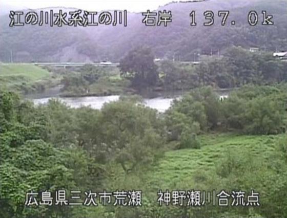江の川荒瀬ライブカメラは、広島県三次市粟屋町の荒瀬(神野瀬川合流点)に設置された江の川が見えるライブカメラです。
