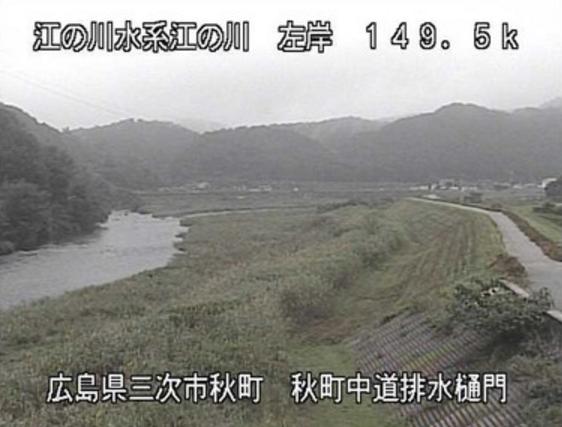 江の川秋町ライブカメラは、広島県三次市秋町の秋町(秋町中道排水樋門)に設置された江の川が見えるライブカメラです。