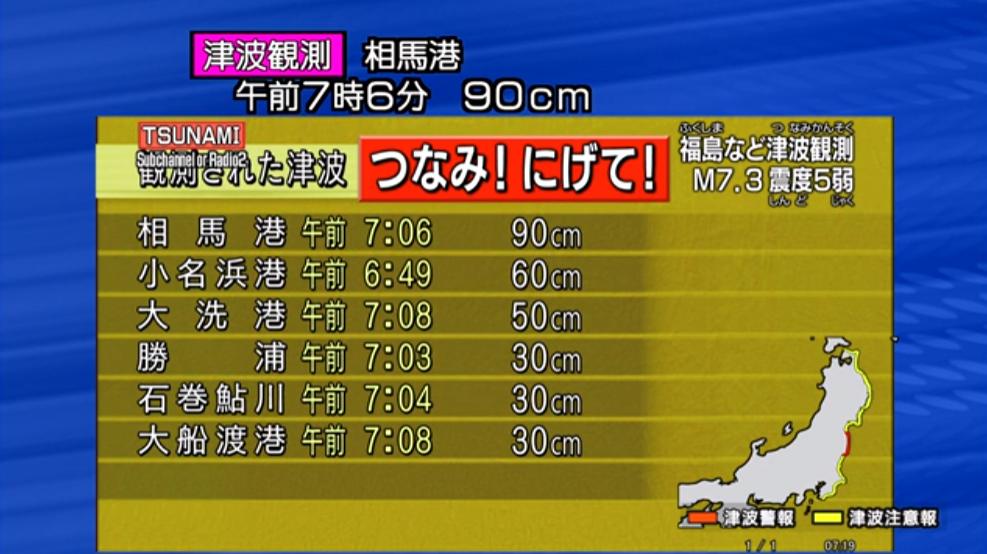 【2016年11月22日】福島県沖震度5弱津波観測ライブカメラ(福島県)