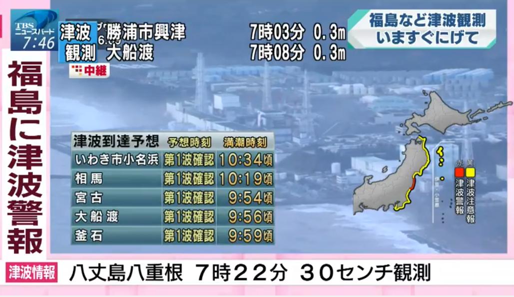 TBS福島県沖震度5弱津波観測ライブカメラ(福島県)