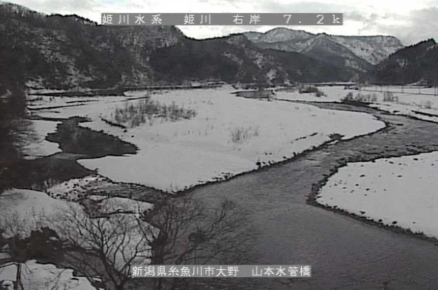姫川山本水位観測所水位標ライブカメラ(新潟県糸魚川市大野)