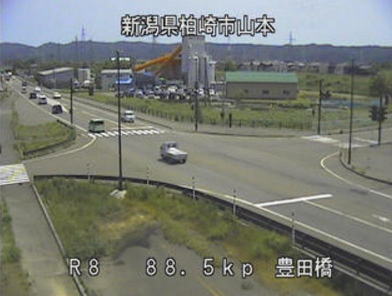 国道8号豊田橋ライブカメラ(新潟県柏崎市山本)