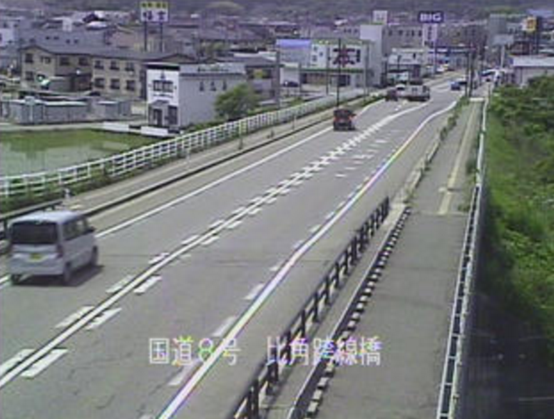 国道8号比角跨線橋ライブカメラ(新潟県柏崎市比角)